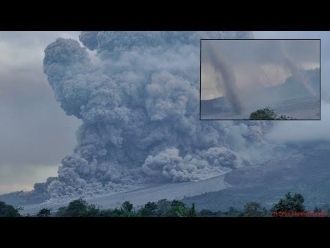 ▶ Extraordinary footage of Pyroclastic Flow spawning a series of Tornado-like twisters. Sinabung Volcano - YouTube.  I have never heard of such a thing happening before!