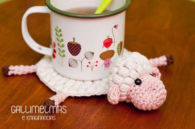 Posatazas lanero de ovejita a crochet. Patrón gratuito