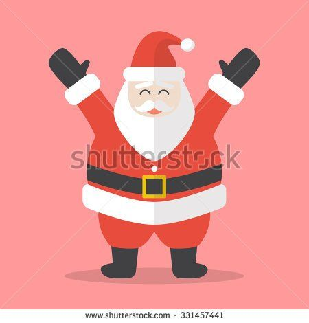 Illustration of Happy Santa Claus. Flat style design - stock vector