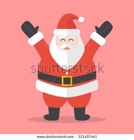 Illustration of Happy Santa Claus. Flat style design - stock vector
