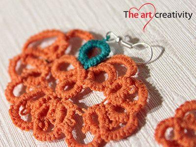 Orecchini a chiaccherino a forma di zucchetta. #halloween #orecchini #chiaccherino #tatting #arancione