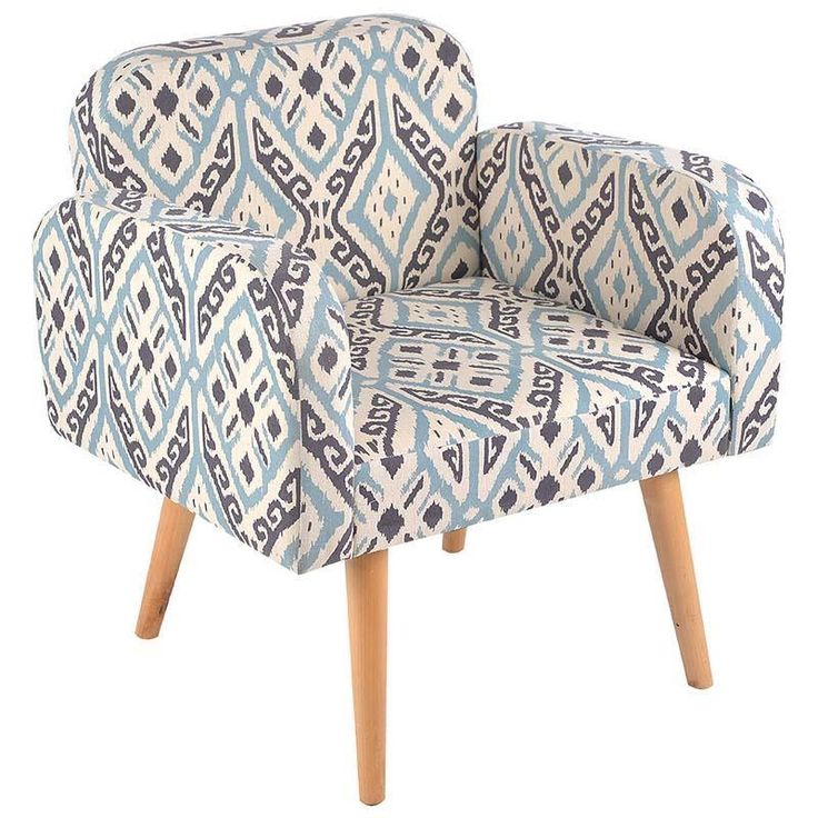 Beautiful fabric armchair in beige - blue print and wooden legs. www.inart.com