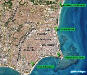 Mapa de Localização das praias centrais de Maceió
