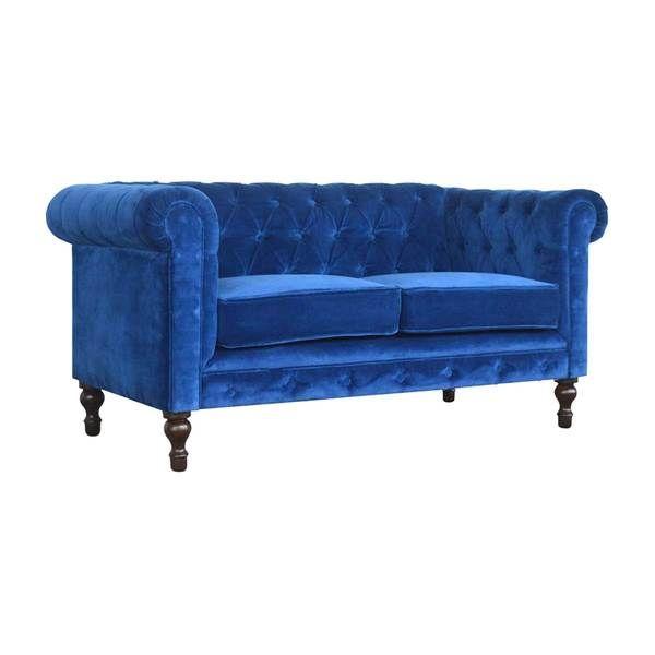 ARTISAN Royal Blue Velvet Two Seater Chesterfield Sofa ...
