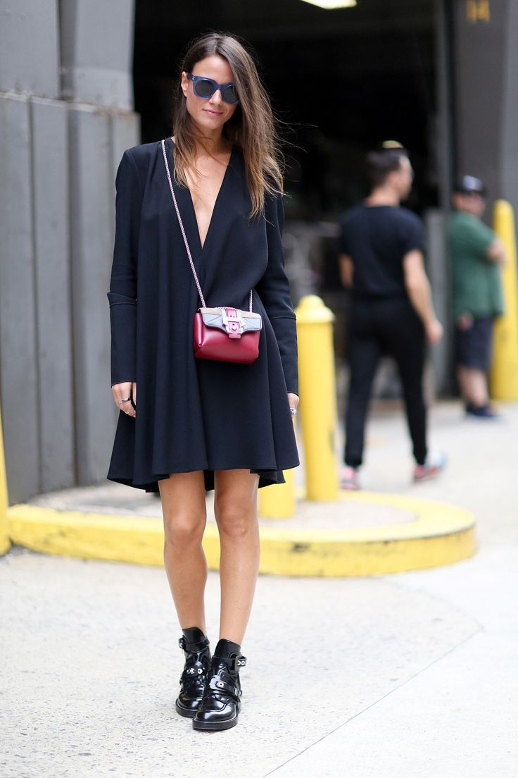 NYFW Street Style Day 8: A floaty dress gets grounded with tough-girl brogues.