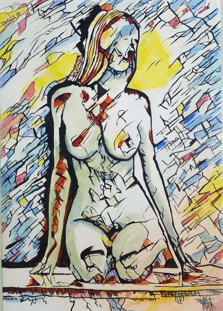 Giovane ragazza in ginocchio, le luci, le ombre, i colori si scompongono in linee incrociate e macchie di colore. I colori che scelgo sono legati alle emozioni che voglio esprimere nel preciso istante in cui li stendo sulla tela.     .   #acrilic #art #arte #artworks #bellezza #canvas #dipinto #donna #drepar #espressionismo #espressionismo lineare #giallo #girl #icona #info #joy #linee #naked #nice #nudo #portfolio #ragazza #rosso #sexy #tela #tela libera #volto #woman