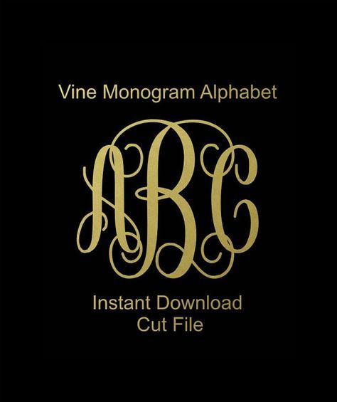 Interlocking Vine Monogram Svg Vine Monogram by LTCreativeDesigns
