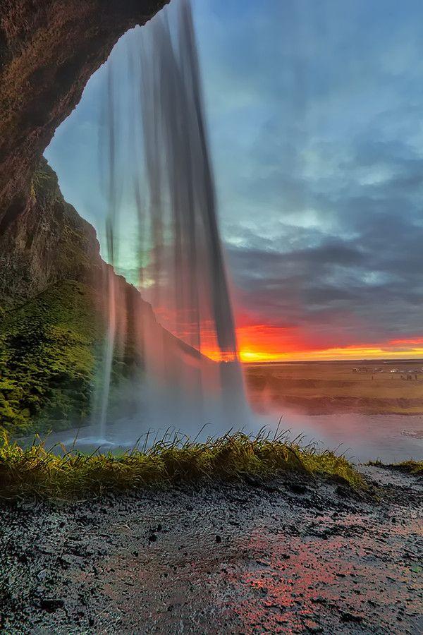 ~~Inside Seljalandsfoss ~ sunset, South Iceland by Fabio Serra~~