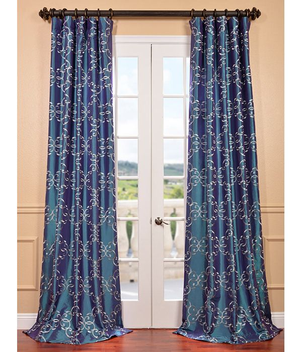 Get Romanian Iridescence Embroidered Faux Silk Cur…