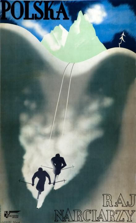 Vintage Ski Posters, Lithograph in colours printed in 1933 for the Polish Tourism Ministry.