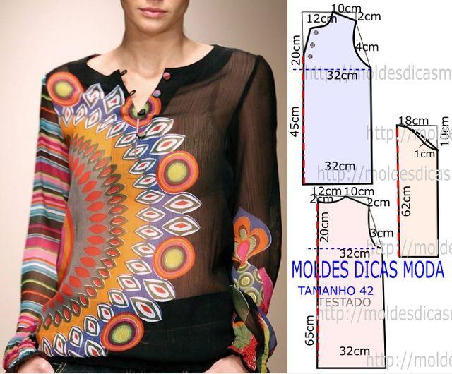MOLDE DE BLUSA HIPPIE CHIC -93 | Moldes Moda por Medida | Bloglovin'