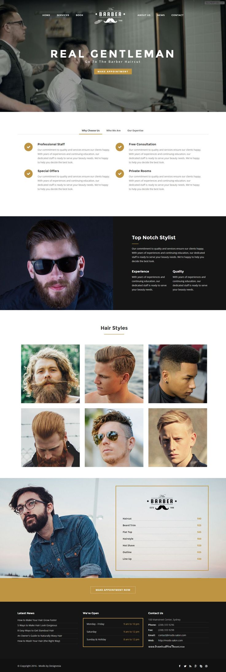 Modis is responsive Bootstrap  HTML 5 website template build with latest trends. Perfectly suited for salon, barber, spa, massage and any else beauty services. #barbershop #webdevelopment