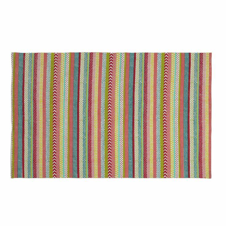 TWIST cotton striped rug, multicoloured 120 x 180cm