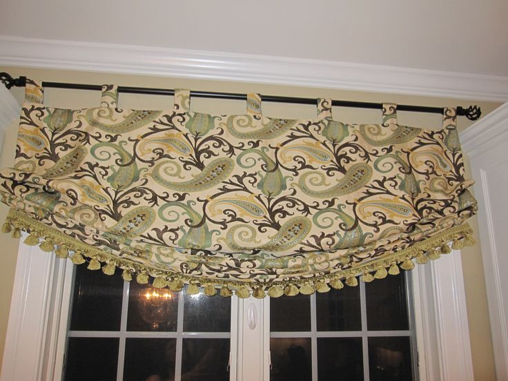 Kitchen Window Relaxed Roman Shade With Tabs And Fringe