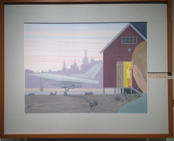 """Fra AROS udstillingen MELLEM KRIG OG FRED af Leonard Rickhard (f.1945). Gennem mere end 30 år har han markeret sig som én af Norges førende malere. Hans interesse for renæssancens og barokkens maleriske kompositioner er tydelig. I hans værker fra 70'erne og 80'erne mærker vi den kolde krigs frygt for undergang. Hans billede her har titlen """"Scene efter solnedgang""""."""