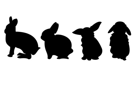 Adorable black and white monochrome silhouette of easter bunnies