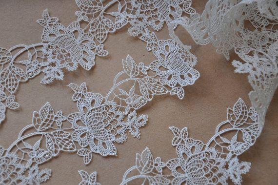 White Lace Trim venise lace trim vintage lace super by LaceFun