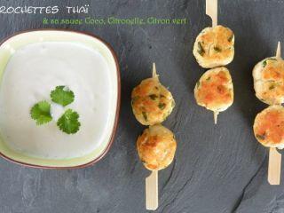 Brochettes thaï et sa sauce coco citronnelle citron vert, Recette Ptitchef