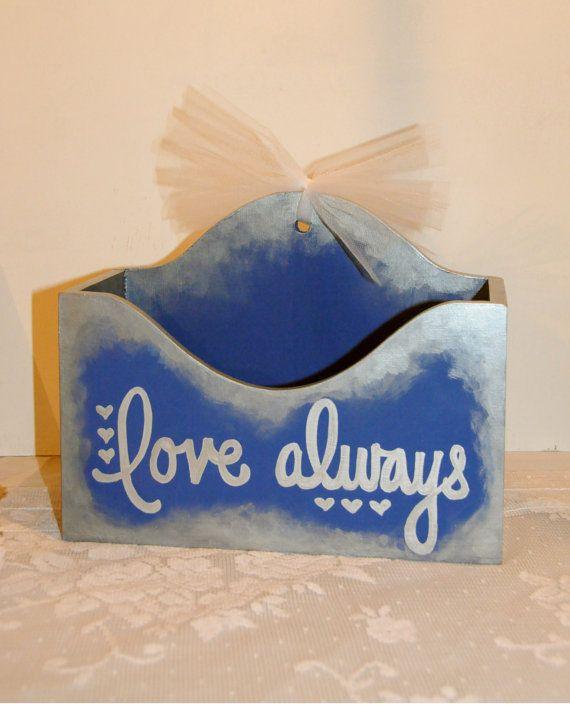 Wedding Advice Box Alternative Guest Book Box Love Always Blue Silver Wedding Keepsake Box Wedding Gift Reception Box by SilverBirdBoutique
