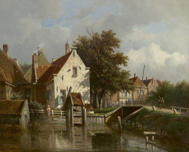 Adrianus  Eversen | 1818 - 1897 - Gezicht op de Kolksluis in Spaarndam