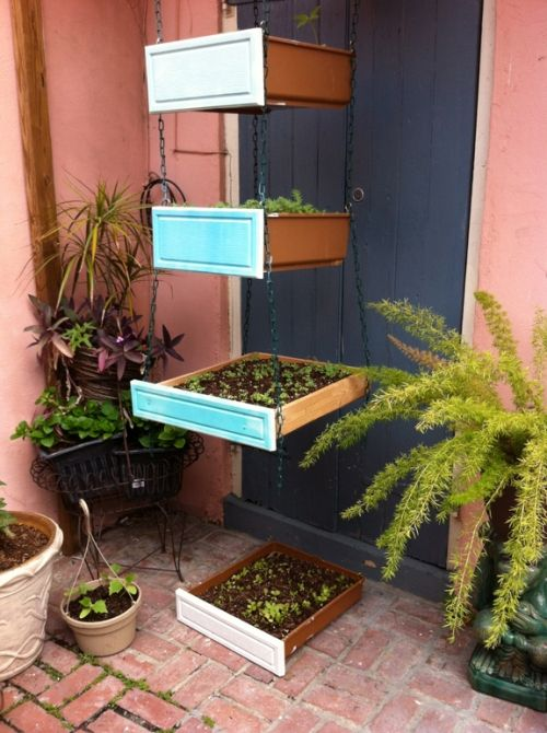 Kitchen Cabinets Recycled As Garden Containers