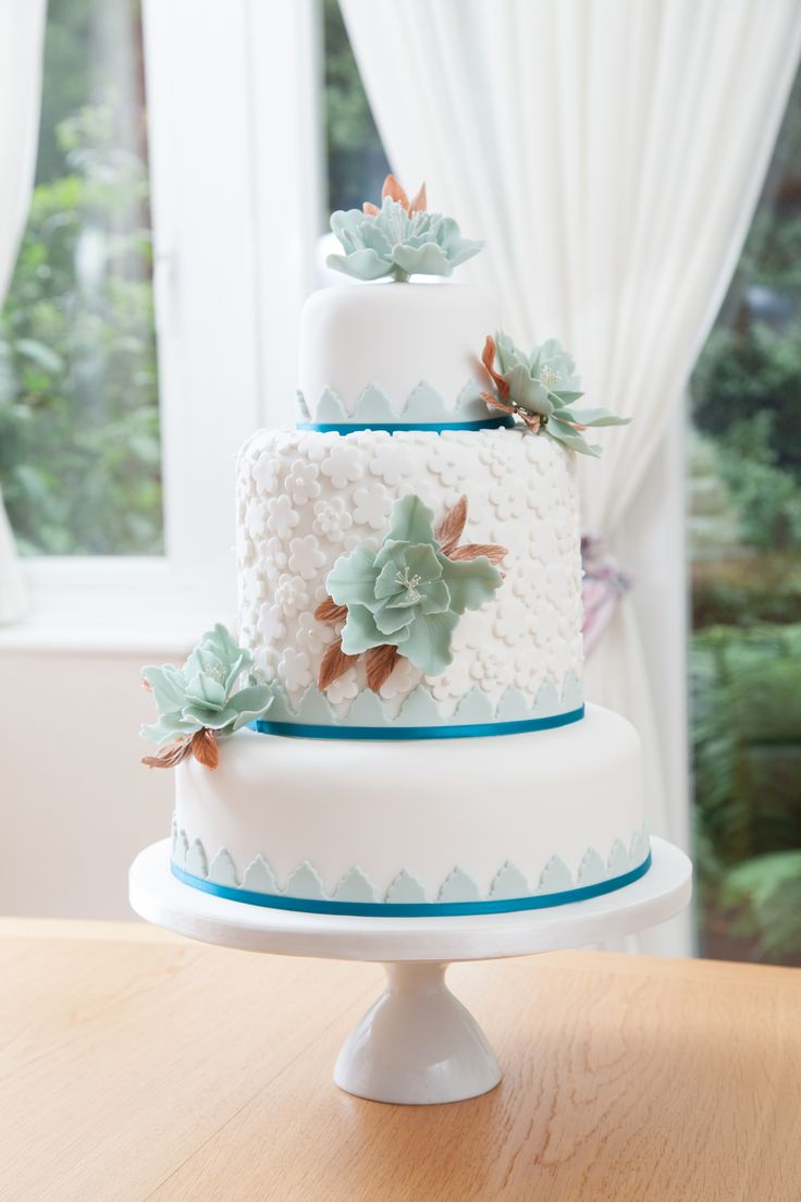 Duck Egg wedding cake.... three tiered wedding cake, double depth cake on the middle tier