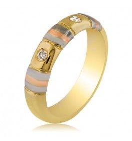 0.06 ct SI1/H Diamond Ring in Three Tone Gold