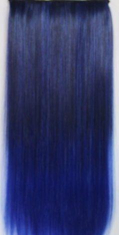 Clip in extension strook / Ombre zwart - blauw / 60 cm