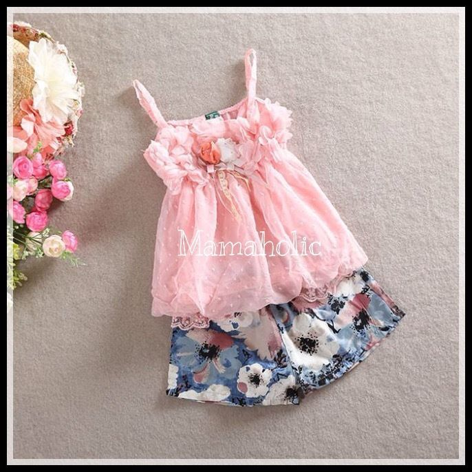 Girls Pink Chiffon Singlet & Floral Shorts, 2pcs set, Girls Outfit, 2-5 years