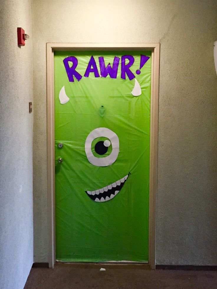 Classroom Decoration Ideas For Competition ~ Halloween door decoration monsters inc super easy and