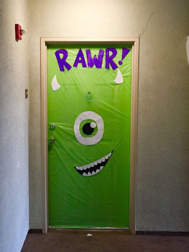 Classroom Decoration Disney ~ Halloween door decoration monsters inc super easy and