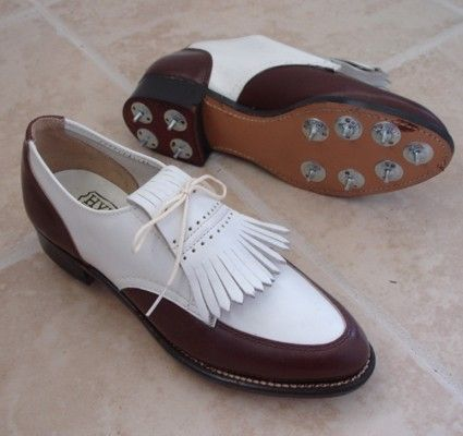 Ladies golf shoes, circa 1950s, if I owned these I'd golf until I became pro