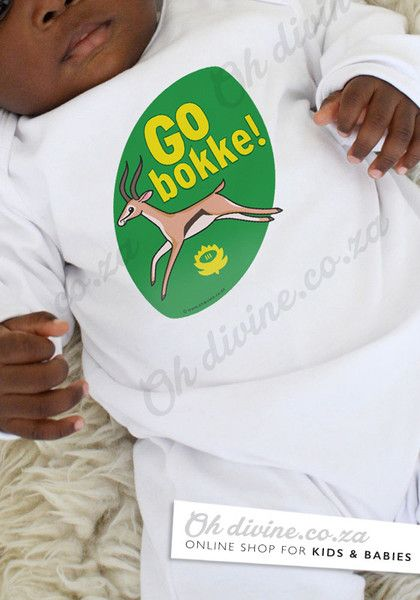 Your baby will look too cute in this unique Springbok Supporter's baby grow specially designed for the Rugby World Cup 2015. Go Bokke!