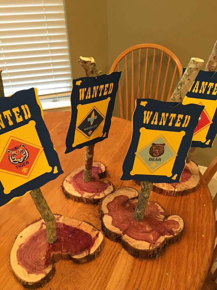 Centerpiece for western themed blue and gold for cub scouts