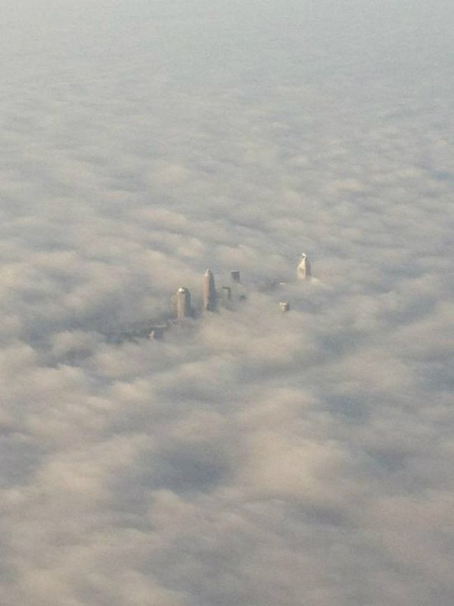 Charlotte, NC in the clouds