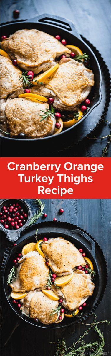 The flavors of Thanksgiving come through with this simple Cranberry Orange Turkey Thighs recipe that only takes one pan! | StupidEasyPaleo.com