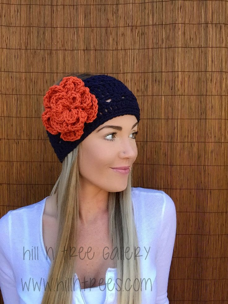 Denver Broncos Flower Headband Hair Accessory Band Colorado Fashion Navy Blue Orange w/ Vegan Coconut Buttons Woman Football Accessories by HillnTrees on Etsy https://www.etsy.com/listing/252613781/denver-broncos-flower-headband-hair