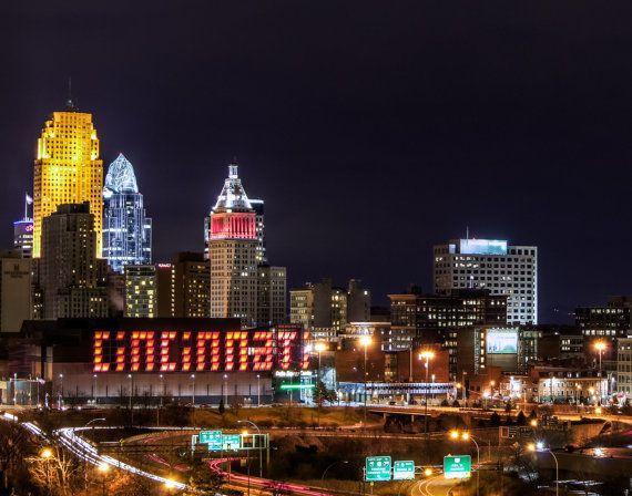 Cincinnati Ohio Night Skyline Photo unframed by DaveFilm on Etsy, $6.99