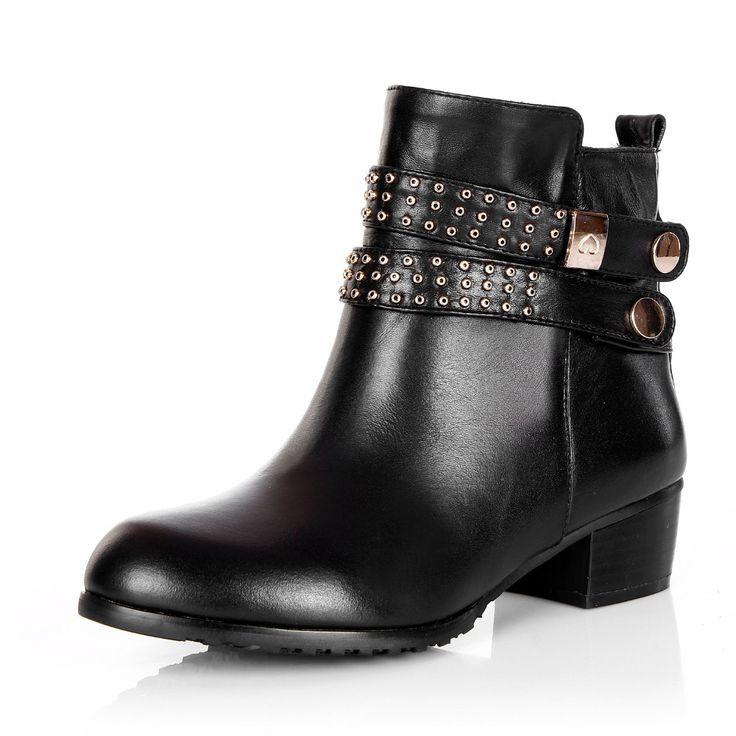 ASYSPLNX Натуральная кожа круглый носок черные туфли женщина середине каблуки ботильоны зима металлической пряжкой обувь заклепки моды для женщин