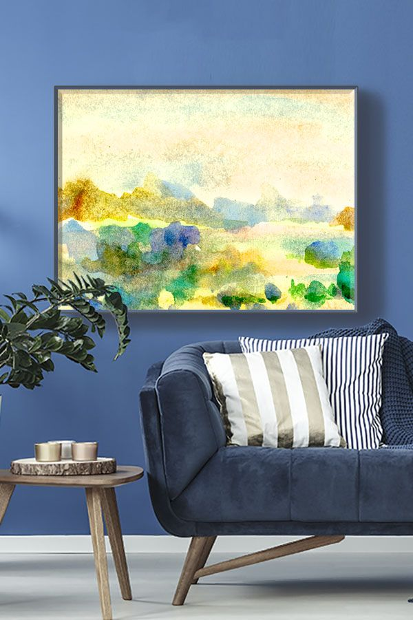 Horizontal Oversize Wall Art Painting On Canvas Large Blue Etsy Oversized Wall Art Wall Art Painting Canvas Painting