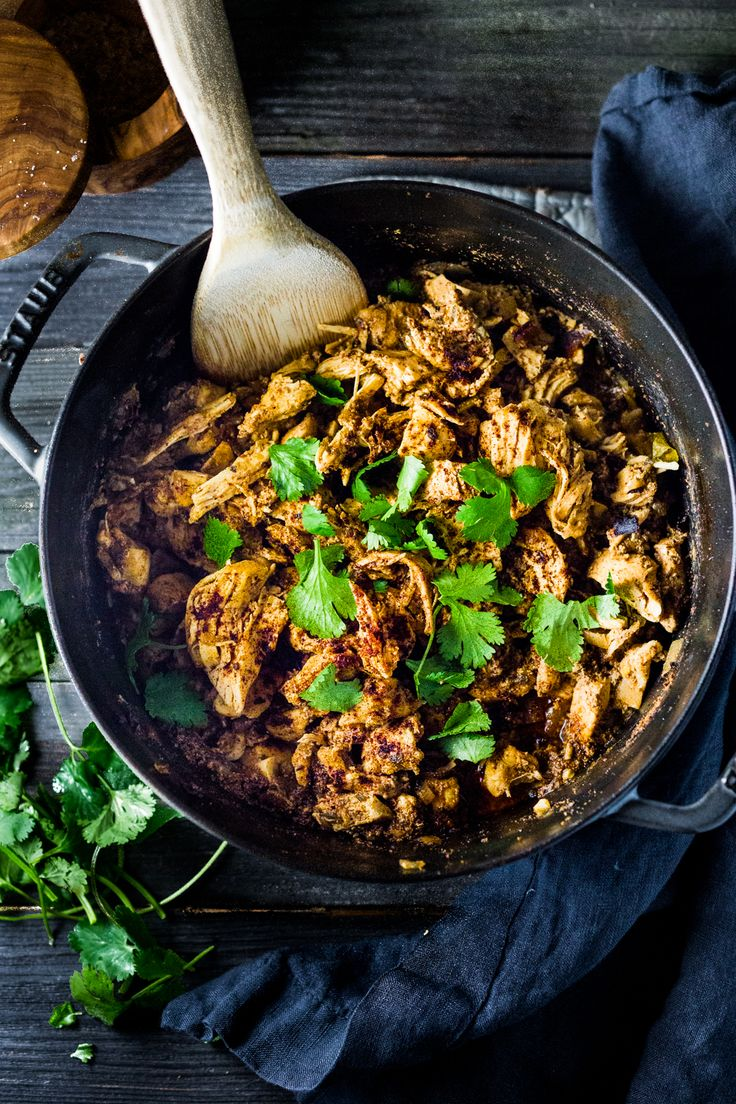 Dutch Oven Chicken Carnitas- Make on the stovetop or in the oven,15 minutes of hands on time. Make AHEAD & turn into quick meals during the workweek!