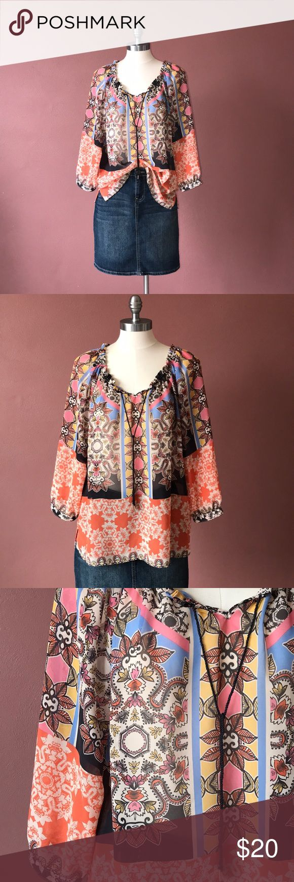 Democracy blouse Size large, great condition, the strings aren't in the best shape, but that's not really noticeable. Adorable patterns! democracy Tops Blouses