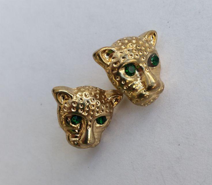 Vintage Leopard Earrings with Green Gem Set Eyes. Gold Tone Big Cat Stud Earrings, Costume Jewelry. by LittleVintageCharmCo on Etsy