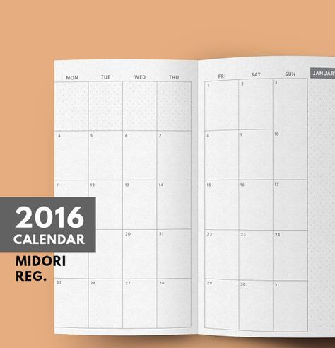 Midori insert 2016 Calendar Printable, Midori 2016, Midori Monthly Planner 2016, Regular Size, Dated Calendar, Minimal Planner,GetWellPlan