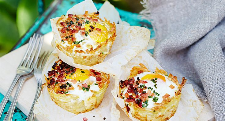 Bacon and eggs in hash brown nests