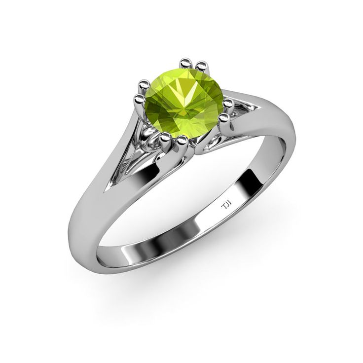 Round Peridot 8 Prong Solitaire Engagement Ring. #Engagementring #peridot #Love #trijewels