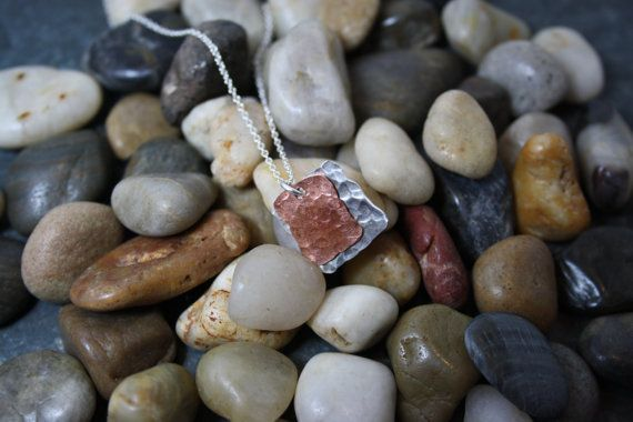 Silver and Copper Square Pendant UPCYCLED RECYCLED REPURPOSED on Etsy, $27.00 CAD