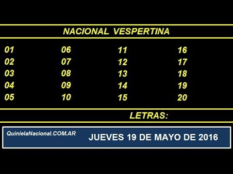 Quiniela Nacional Vespertina Jueves 19 de Mayo de 2016 www.quinielanacional.com.ar