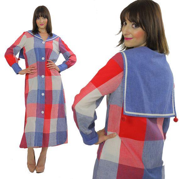 60s Boho Hippie caftan Nautical dress Sailor beach coat  Red White blue Plaid maxi dress Festival sailor collar long sleeve M Medium