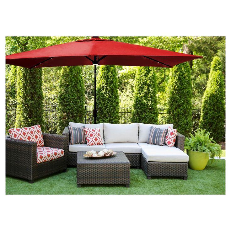 Rectangular Lighted Solar Patio Umbrella - Red - AE Outdoor